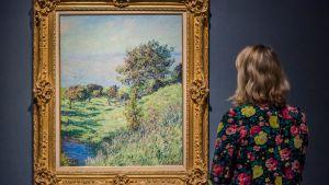 Nainen katselee maisemamaalausta.