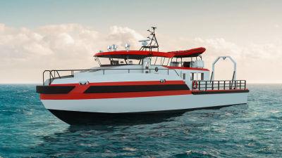 En skiss av ett forskningsfartyg som företaget Kewatec ska leverera till Norge. Skissen föreställer ett 23 meter långt fartyg i vatten.