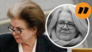 En analysbild med en liten bild på Kerstin Kronvalls ansikte ovanpå en större bild på Valentina Teresjkova.