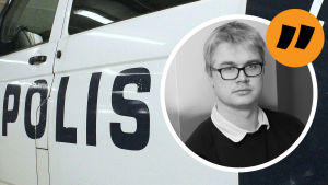 Grafik. Till vänster syns en polisbil. Till höger redaktör Christoffer Gröhn.