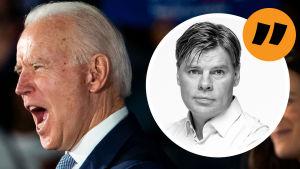 Vithårig man i mörk kostym i en talarstol med två kvinnor bakom honom och i bakgrunden en grupp människor och en skyld där det står Biden..