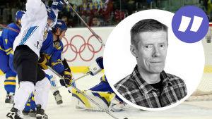 Finland mot Sverige I OS med Anders Nordenswans kolumnvinjett.