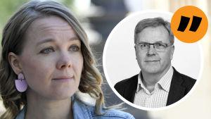 Grafik. Till vänster syns Katri Kulmuni. Till höger Bengt Östling.