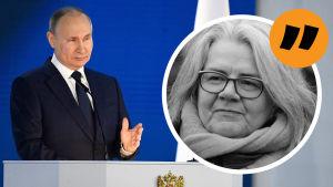 Bildkollage på Putin och korrespondent Kerstin Kronvall