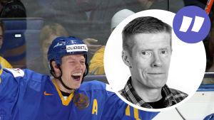 Mats Sundin jublar, på sidan en kommentarsbild av Anders Nordenswan.