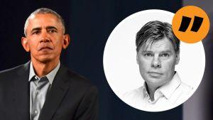 Obama till vänster och Ville Hupa till höger.