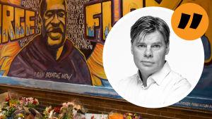 Ville Hupas bild mot bakgrund av blomster framför en väggmålning av George Floyd.