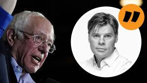 En kommentarsbild med Bernie Sanders och en liten kommentarsbild på Ville Hupa.