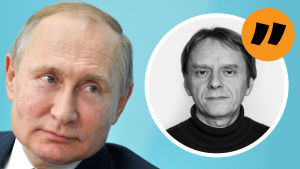 Grafik. Till vänster syns Vladimir Putin och till höger journalisten Anders Mård.