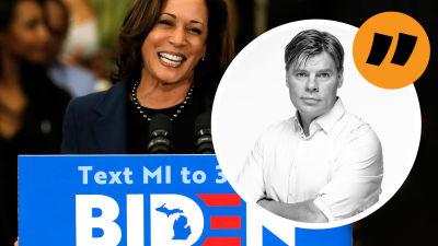 """Grafik. Till vänster syns Kamala Harris vid ett talarpodium där det står """"Biden"""". Till höger syns redaktör Ville Hupa och ett citattecken, vilket signalerar att den här texten är en kommentar/kolumn."""