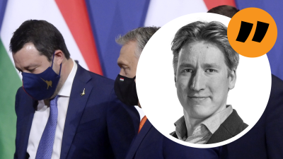 Kommentarsbild. Rikhard Husu, Matteo Salvini och Viktor Orbán på bild.