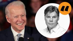 Bild av Joe Biden, med en analysstämpel föreställande Ville Hupa på