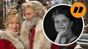 Goldie Hawn och Kurt Russell från filmen Christmas Chronicles 2 samt kommentarsstämpel av Silja Sahlgren-Fodstad