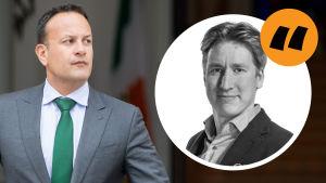 Bild av Leo Varadkar, Irlands premiärminister. På bilden även Rikhard Husus kommentarsstämpel