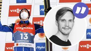 Ilkka Herola firar VM-silver.