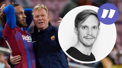 Ronald Koeman instruerar en spelare i Barcelona.