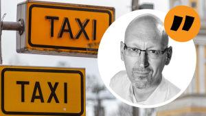 Taxiskyltar, med Pekka Palmgrens kommentarsstämpel på.