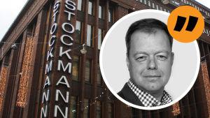 Stockmanns fasad och på den analysstämpel med Patrik Schauman