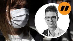 En bild på en kvinna iförd ansiktsskydd med en kolumnstämpel med Magnus Swanljungs bylinebild.
