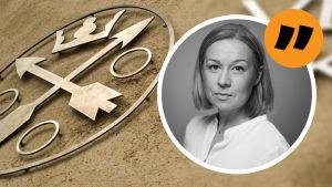 Anna Forth och i bakgrunden Skattemyndigheten logo.