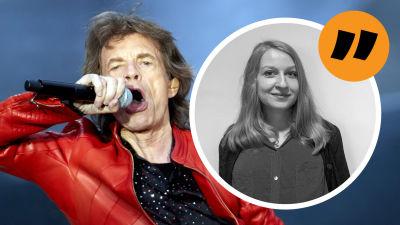 Grafik. Till vänster syns Mick Jagger. Till höger syns redaktör Anna Lillkung.