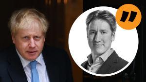 Boris Johnson i kostym, Rikhard Husus citatbild ovanpå.
