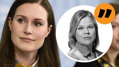 Ingemo Lindroos kommentarsstämpel på en bild av Sanna Marin med Li Andersson i bakgrunden.