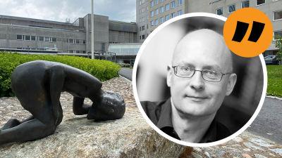 Bildkollage med Vasa sjukhus och Kjell Lindroos