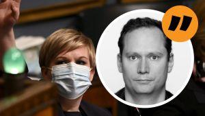 Vetenskaps- och kulturminister Annika Saarikko (C) i riksdagen. Svenska Yles politiska redaktör Anders AG Karlsson i förgrunden i form av citatstämpel.