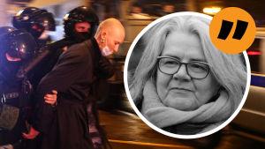 Kerstin Kronvall mot en bakgrund av en kvinnlig, demonstrant som förs bort av polis.