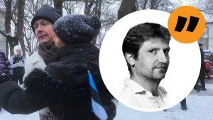 Två ester, en man och en kvinna, som dansar vals utomhus i snön. Kvinnan håller en liten estnisk flagga i handen. Ovanpå bilden en kommentarsstämpel på Gustaf Antell.
