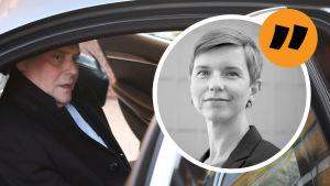 Linda Söderlund på en bild av Antti Rinne som stiger ur sin tjänstebil.