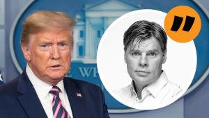 Trump i bakgrunden på Ville Hupas kommentarsbild.