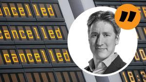 Bild på tavla på flygfält där det står att flygen är inställda. På bilden finns också en bild på Rikhard Husu.
