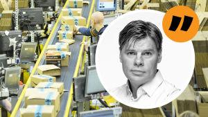 En bild från Amazons logistikcenter, där en man lägger ett paket på ett löpande band med flera andra paket, omringad av kartonger. Ville Hupas bild ovanpå.