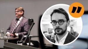 Johan Ekmans ansikte på en bakgrund där Timo Soini står vid ett bord bredvid en OH-maskin.