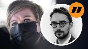 Annika Saarikko i närbild. Hon bär ett svart munskydd. Ovanpå en bild på redaktör Johan Ekman och ett citattecken.