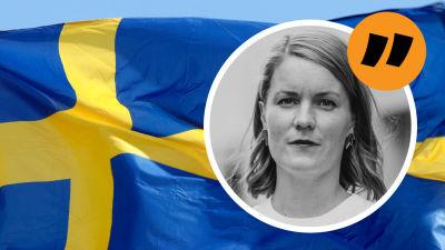 En bild på Sveriges flagga med Marianne Sundholms bild ovanpå.