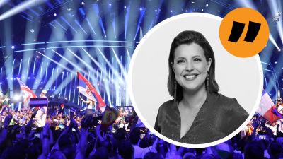 En bild på Eva Frantz ovanpå en bild på publikhavet framför en scen.