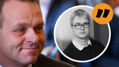 Grafik. Till höger som stor bild syns Jan Vapaavuori. I en liten cirkel till höger syns reporter Christoffer Gröhn.