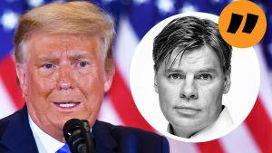 Kommentarsbild på Svenska Yles USA-korrespondent Ville Hupa bredvid USA:s president Donald Trump.