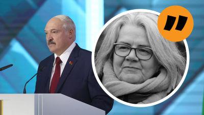 Aleksandr Lukasjenko håller tal till nationen. I förgrunden en analysbild på Kerstin Kronvall.