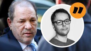 En bild på Harvey Weinstein med en kommentarsbild på Lasse Garoff.