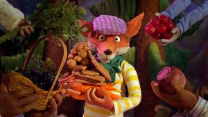 Mickel Räv står med en massa frukt och grönsaker i famnen och blir erbjuden mer mat.