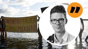 I bakgrunden syns personer som står i havet och håller upp skyltar. I förgrunden grafik där reporter Magnus-Swanljung syns.