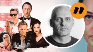 Lasse Grönroos kommentarsbild med promobilder ur tv-serien Exit.