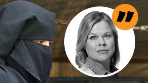 Ingemo Lindroos i en rund bild mot bakgrund av ev en kvinna klädd i svart slöja.