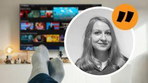 Anna Lillkung, en ung kvinna inklippt över en bild på en tv. I förgrunden syns två fötter.