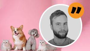 Simon Karlsson, en ung mans ansikte är inklippt över en bild på två hundar och två katter mot en enfärgad rosa bakgrund.
