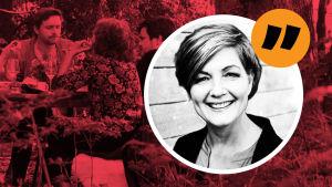 Maria Sundblom Lindbergs kommetarsbild med röd bakgrundsbild på ett sälskap till bords ute i en skog.